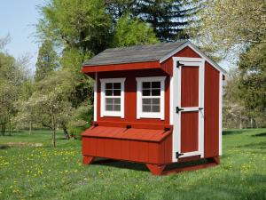 Chicken Coop picture info: Size: 4 x 6 • Siding: Barn Red • Trim: White • Shingles: Charcoal Gray