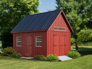 10x16' • Stauffer Red B&B, Doors and Trim • Black Metal Roof • Aluminum Ramp