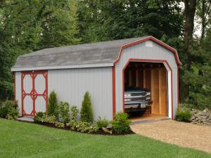 Shed Picture info: Size: 12 x 20 • Siding: Zook Gray • Trim: Barn Red • Shingles: Colonial Slate • Options: End Vents; 6' Double Doors