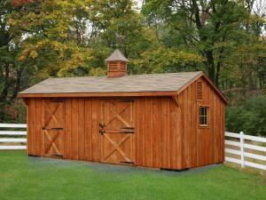 Shed Picture info: Size: 12 x 20 • Siding: Board & Batten • Shingles: Weatherwood • Options: Stain of your choice • End Vents • Cupola • Weathervane • Gable Overhang