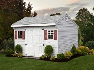 Shed Picture info - 10x12'/ Stone Gray Vinyl / White Trim/ Red Shutters / Dual Gray Shingles – Options: End Vent