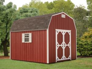 Shed Picture info: Size: 10' x 12' • Siding: Barn Red • Trim: White • Shingles: Weatherwood • Options: End Vents