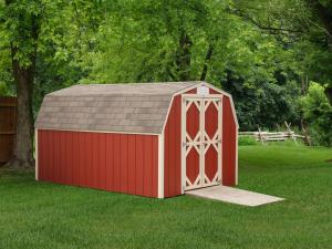 Shed Picture info: Size: 8 x 12 • Siding: Barn Red • Trim: Navajo White • Shingles: Weatherwood • Options: End Vents • 4'x5' Ramp