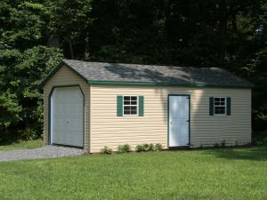 Shed Picture info: Size: 12 x 24 • Siding: Sand • Trim: Grecian Green • Shingles: Charcoal Gray • Steel Door