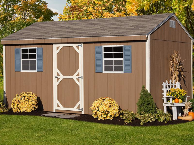 Shed Picture info: 10' x 16' Siding: Quaker Tan; Trim: Navajo White; Shingles: Weatherwood • Options: End Vents, Blue Shutters