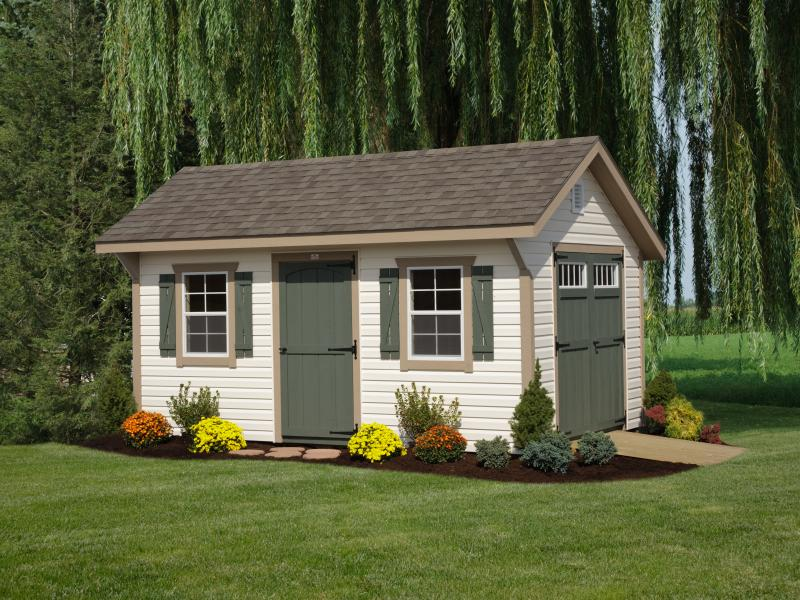 Shed Picture info: Size: 10 x 16 • Siding: Ivory • Trim: Buckskin • Doors & Shutters: Avocado • Shingles: Weatherwood • Options: Decorative End Vents • 3' Single Door