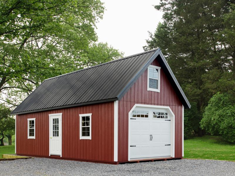 14x24' • Stauffer Red Duratemp • White Trim • Black Metal Roof • Garage Package • 9-Light Pre-Hung Door upgrade