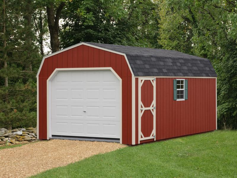 Shed Picture info: Size: 12 x 24 • Siding: Barn Red • Trim: Navajo White Shingles: Charcoal Gray • Green Shutters