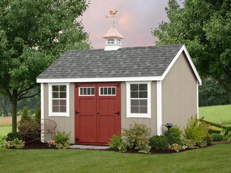 Shed Picture info: Size: 10 x 12 • Siding: Clay • Trim: White • Doors: Stauffer Red • Shingles: Charcoal Gary • Options: Cupola with Weathervane