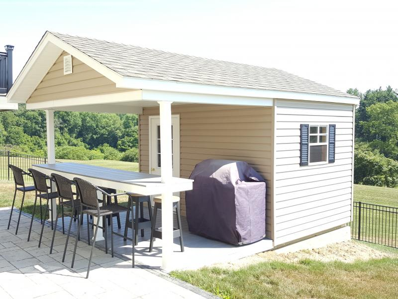 Custom buildings rebuild lives with your storage shed for Pool shed with bar plans