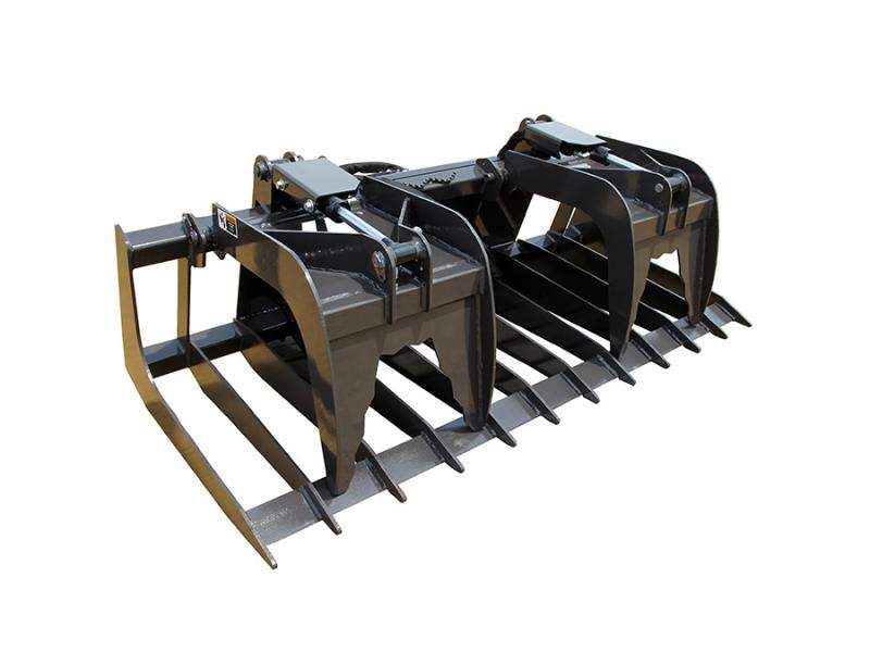 Tractor Loader Boom Middle Steeering : Rock grapple with claws skid loader attachments