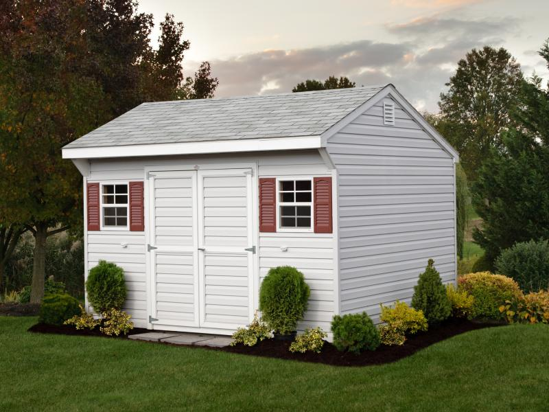 Shed Picture info: Size: 10' x 12' • Siding: Stone Gray • Trim: White • Shingles: Dual Gray • Options: End Vents, Red Shutters