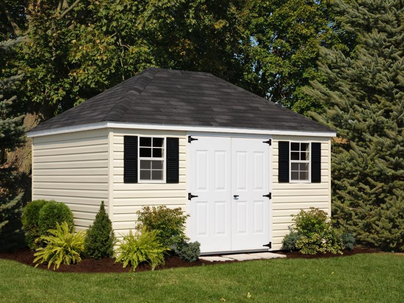 Shed Picture info: Size: 10' x 14' • Siding: Beige • Trim: White • Shingles: Black • Options: Steel Doors; Black Shutters