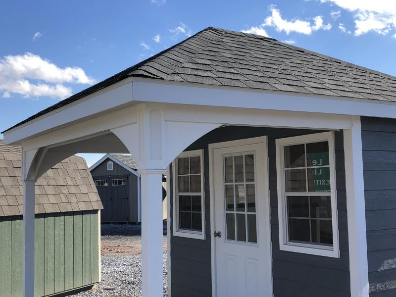 BARN238 10X12 CUSTOM - HIP-ROOF POOL SHED - In-Stock Storage
