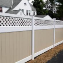 White and tan vinyl privacy fence in Harrisburg pa