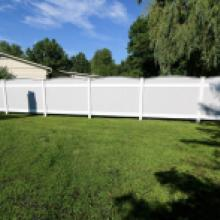 White and gray vinyl privacy fence in Lebanon pa