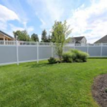 White and gray vinyl privacy fence in Jonestown pa