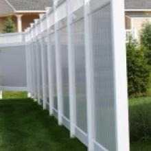 White and gray vinyl privacy fence in Hershey pa