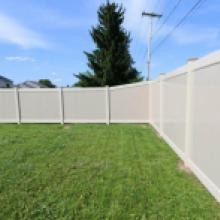 Tan vinyl privacy fence in Lebanon PA
