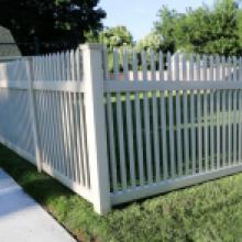 Tan vinyl picket fence in Lancaster pa