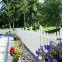 White vinyl picket fence beside pool in Reading pa