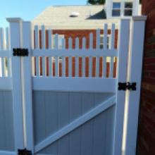 White and gray privacy fence door in Jonestown PA